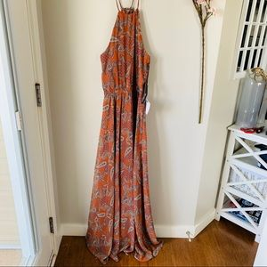 NWT LULUS / MAXI HALTER NECK PATTERNED DRESS